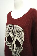 Love by Design Skull Embroidered red heavy knit sweater top sz L womens #8045