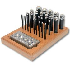 Kent 29pcs Dapping Punches With Matching Doming Block and Wooden Stand