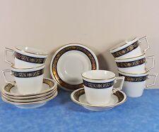 6 Kaiser Porcelain ECHT KOBALT Cups & Saucers- W Germany- Gold, Cobalt, Embossed
