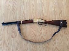 """3/4"""" Leather NO DRILL Rifle Sling For Henry Rifles. Black"""