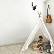 Teepee Play Tent Cubby House for Toddlers Children Natural Linen Cotton + Window