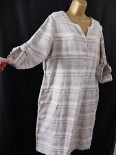 M&S ● size 16 ● beige neutral linen mix summer dress womens ladies