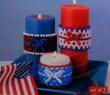 "Sunrise Bead Craft Kit ""Patriotic Candle Wraps"" - Fast, Fun & Easy! (Makes 3)"