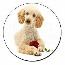 Poodle with Red Rose Fridge Magnet Stocking Filler Christmas Gift, AD-CP7RFM