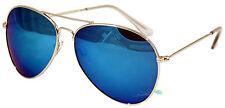 Aviator Sunglasses Blue Mirrored Lens Dark Tint Lens Silver Frame UV400
