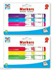 MARKERS White Board 3pk kids dry erase washable Wipe Clean brigh colours child