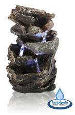 3 Tier Rock Cascade Water Feature Fountain Tabletop Stone Effect Indoor Garden