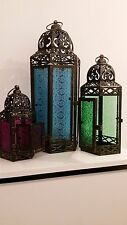 Indian / Moroccan Coloured Glass Lantern set of 3