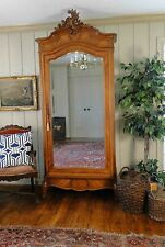 Antique French Louis IV Armoire Wardrobe Walnut TV Linen Mirror Old