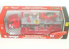 BURAGO SHELL V POWER PASSION SERIES HAULER TRUCK + FERRARI 599XX LIMITED SET