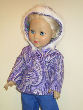 """Purple Paisley Quilted Winter Coat for 18"""" Doll Clothes American Girl"""
