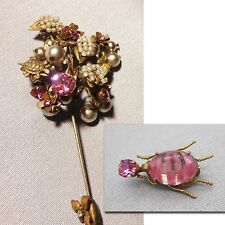 Vtg Pink RS MIRIAM HASKELL Signed Trembler Stick/Hat Pin & Scarab Jelly Belly