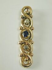 Sapphire & Diamond trilogy drop pendant antique victorian 15 carat gold ca 1880