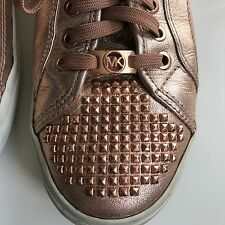 MICHAEL KORS BOERUM ROSE GOLD STUDDED SNEAKERS TENNIS SHOE 10 M PINK