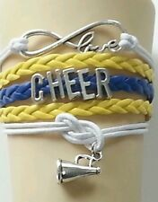 CHEER LEATHER CHARM BRACELET SILVER-YELLOW-BLUE-WHITE -ADJUSTABLE-SPORTS-#48