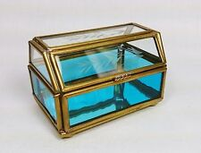 Vintage Etched Clear & Blue Glass Jewelry Trinket Box Hinged Lid