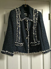CHANEL 10P NEW Most Wanted Navy Ecru PEARL Embellished Braided trim Jacket FR46
