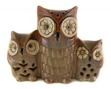 EARTHENWARE CERAMIC OWL FAMILY Decorative Ornament Statue Home Decor Gift - NEW