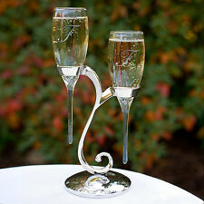 Raindrop Flutes With Swirl Stand Personalized Wedding Toasting Flutes (20772)
