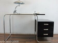 Schreibtisch Freischwinger Stahlrohr Chrom Holz Slezak? Schwarz Bauhaus Art Deco