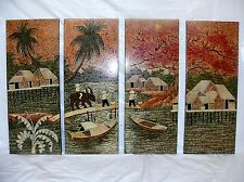 Set 4 Vtg Chinese Water Buffalo Village Black Lacquer Wall Panels Asian Wall Art
