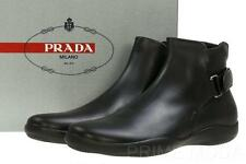 NEW PRADA MEN'S BLACK LEATHER LOGO  ANKLE BOOTS SHOES 11/US 12