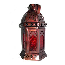 Red Glass Decorative Moroccan Candle Lantern, Tealight Candle Holder, Home Decor
