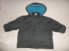 Mini Mode Boys Girls Unisex Black Hooded Warm Jacket Size 9-12 Months