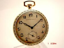 TAVANNES 17J MANUAL WIND ENAMEL & 14K SOLID GOLD 46MM SWISS MADE POCKET WATCH