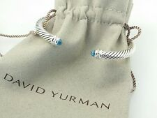 DAVID YURMAN Sterling Silver Cable Classics Bracelet Bangle Blue Topaz Diamond