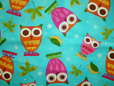 CLEARANCE FQ BRIGHT FUNKY OWLS FABRIC BIRDS FOLK