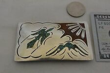 "signed Old  Sterling ""Peyote Bird"" Silver BELT BUCKLE Navajo Turquoise & Coral"