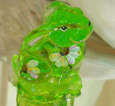 Fenton Vintage Green Glass Black Eye Susan Hand Painted Bunny Rabbit 231D6