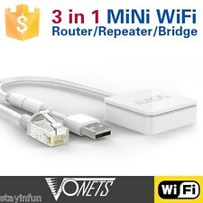 3 in 1 New Wireless Vonets Mini 300Mbps Wi-Fi Router Repeater Bridge White