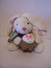 PLUSH CREAM COLORED LOP EARED EASTER BUNNY WITH CUPCAKE BASKET DECORATION SPRING