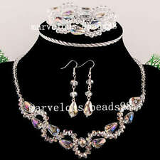 4~10x14mm AB White Crystal Beads Necklace Bracelet Earrings Set G3855