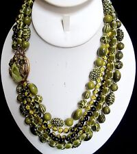 Vintage 1950's Selini Selro Multi Strand Shades of Green Lucite Beaded Necklace