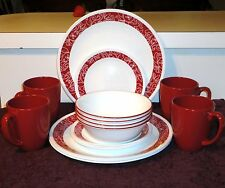 16 PC CORNING CORELLE RED WHITE PAISLEY BANDHANI DINNERWARE SET
