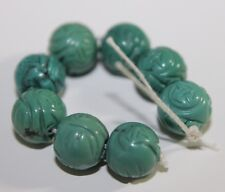 Vintage 8 Turquoise Shou Carved Bead Chinese 8mm Very Rare For Necklace Gemstone