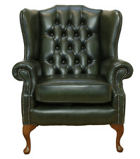 Chesterfield Armchair Mallory High Back Fireside Wing Chair Green Leather