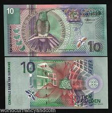 SURINAME 10 GULDEN P147 2000 MILLENNIUM BIRD MOST COLORFUL UNC MONEY BANK NOTE