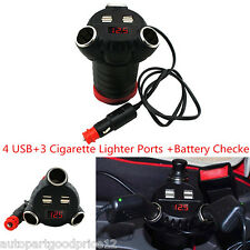 180W Car Adapter with 5A 4 USB Charger 3 Cigarette Lighter Ports Battery Checker