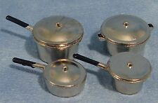 DOLLSHOUSE 1/12th SCALE METAL PAN SET OF 4