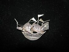 VINTAGE SILVER FILIGREE BROOCH/PIN-SAILING SHIP W/FULL MASTS AND FLAGS-C CLASP
