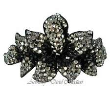 Anthony David  Black & Pewter Floral Hair Accessory Clip with Swarovski Crystals