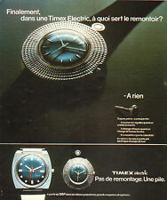 Publicité Advertising 1973 Montre Timex Electric Pas de remontage Une pile .