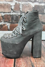 GOTHIC Chic *UNIF* Club Kid GRAY SUEDE Stacked HELLBOUND Platform BOOTS 7