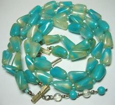 VINTAGE Jewellery 1950's 2 Row Bicolour AQUA LUCITE Early Plastic BEAD NECKLACE