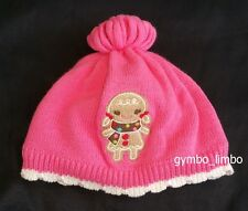 Gymboree Winter Cheer Girls 12 18 24 Pink Fleece lined GINGERBREAD Cookie HAT