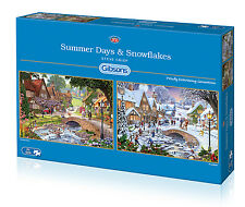 GIBSONS SUMMER DAYS AND SNOWFLAKES 2 x 500 PIECE CHANGING SEASONS JIGSAW PUZZLE
